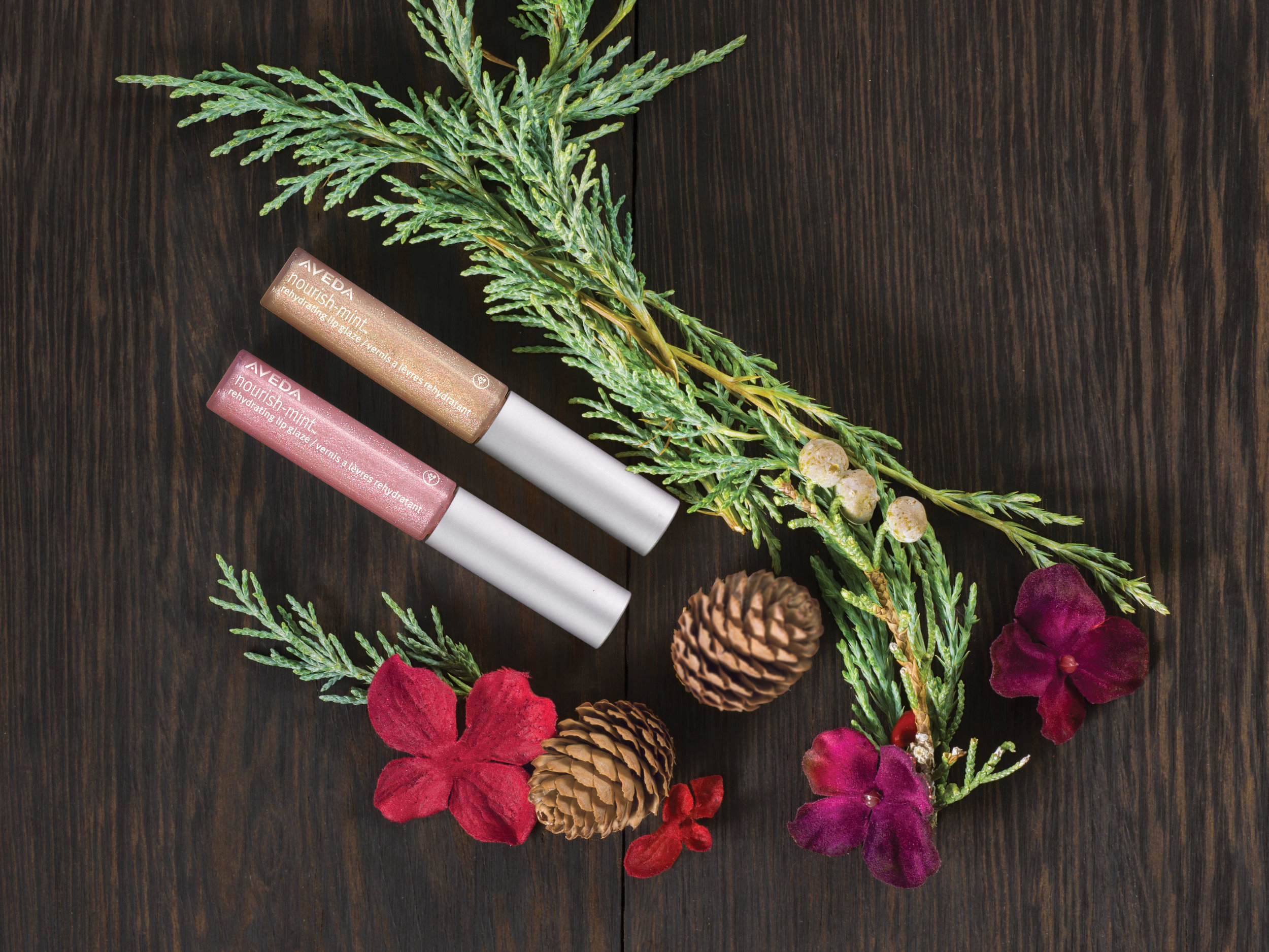 A Gift to Make Her Smile: $22  nourish-mint™ rehydrating mini lip glazes: pink laurel and golden lily shades, 2.5 ml each
