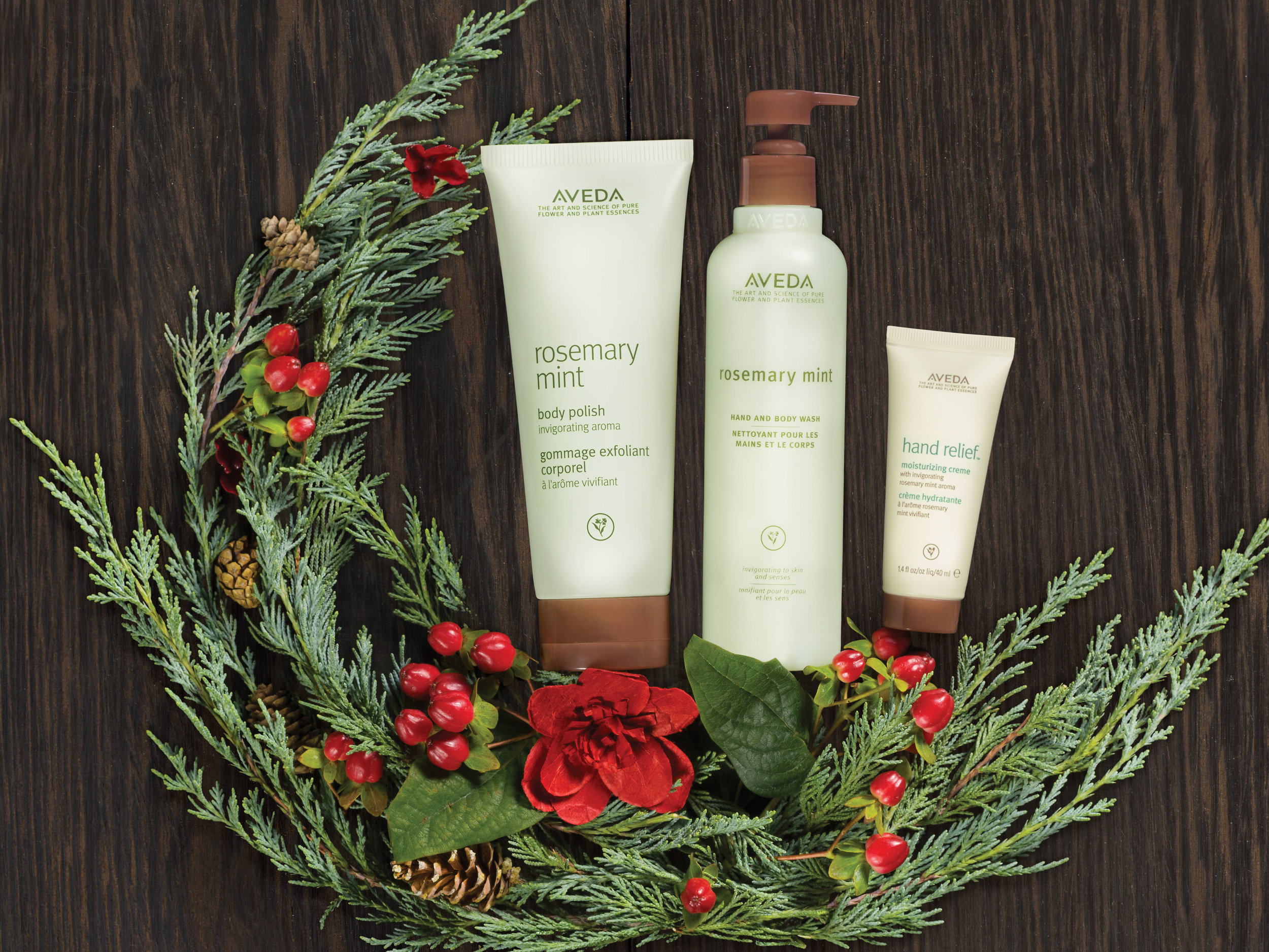 An Invigorating Retreat is a Gift: $64.50  hand relief™ moisturizing creme with rosemary mint aroma, 40 ml rosemary mint body scrub, 200 ml rosemary mint hand and body wash, 250 ml