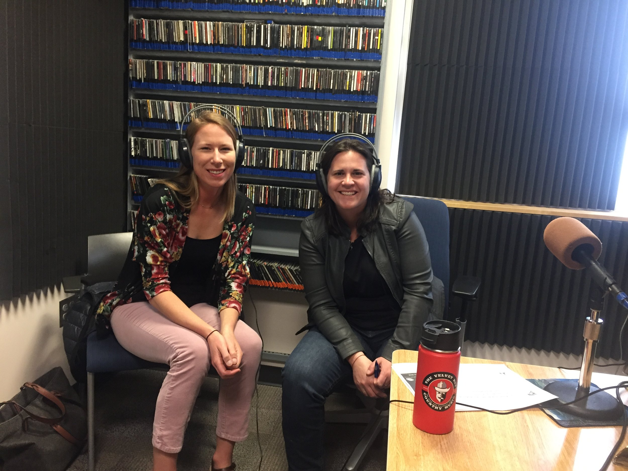 My daughter Natalie (pink pants) joined me in studio with radio host Sarah B.