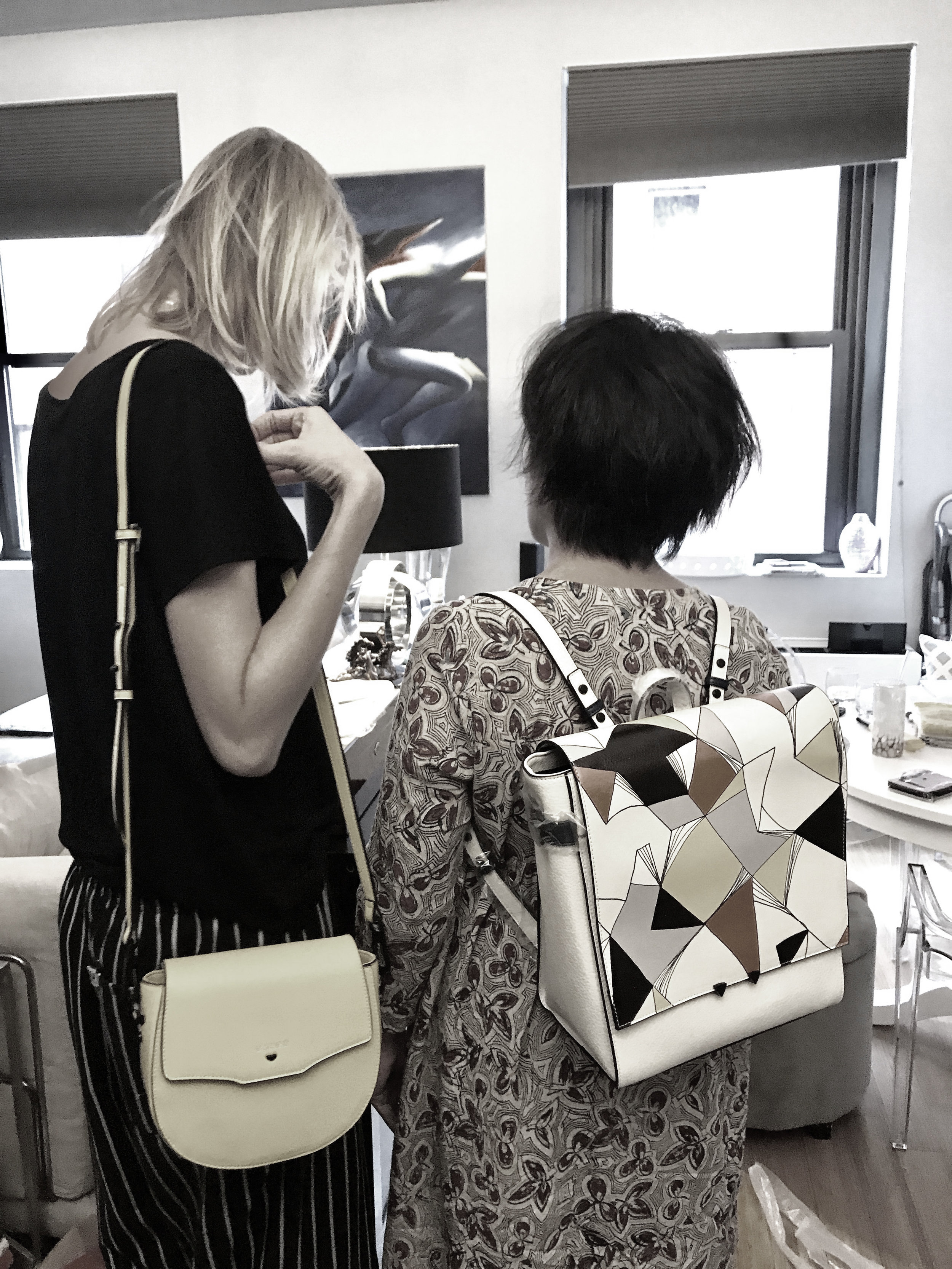 Marketing & PR Meeting for Niko Ineko Spring 2018 launch: Ladies testing out the bags!