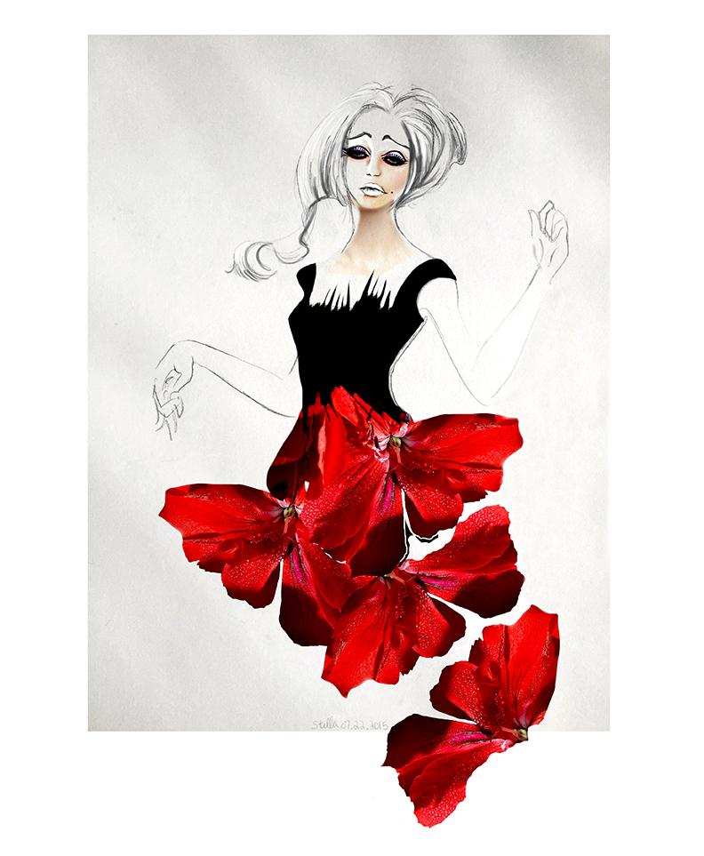 Call Me, Dior -  Mixed media fashion illustration of pencil, graphite, watercolor, and digital texture