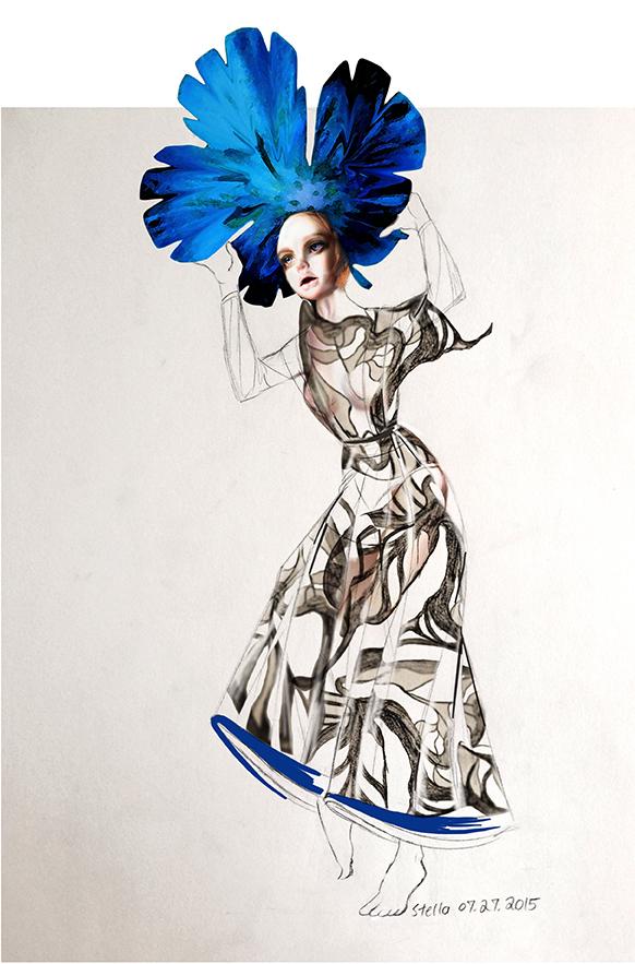 Call Me, Valentino  - Mixed media fashion illustration of pencil, graphite, watercolor, and digital texture