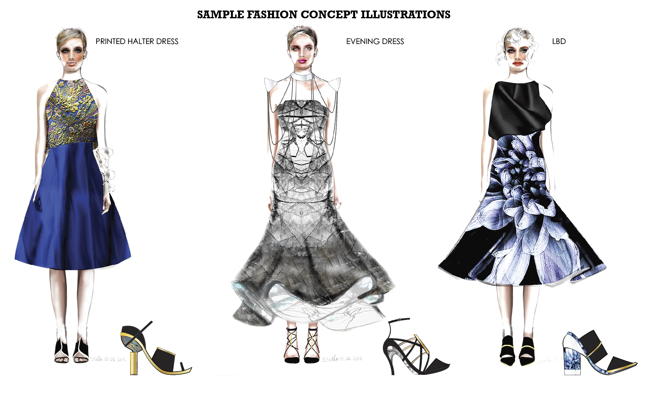 Fashion Concept Board -  Mixed media of pencil, ink pen, and digital textures