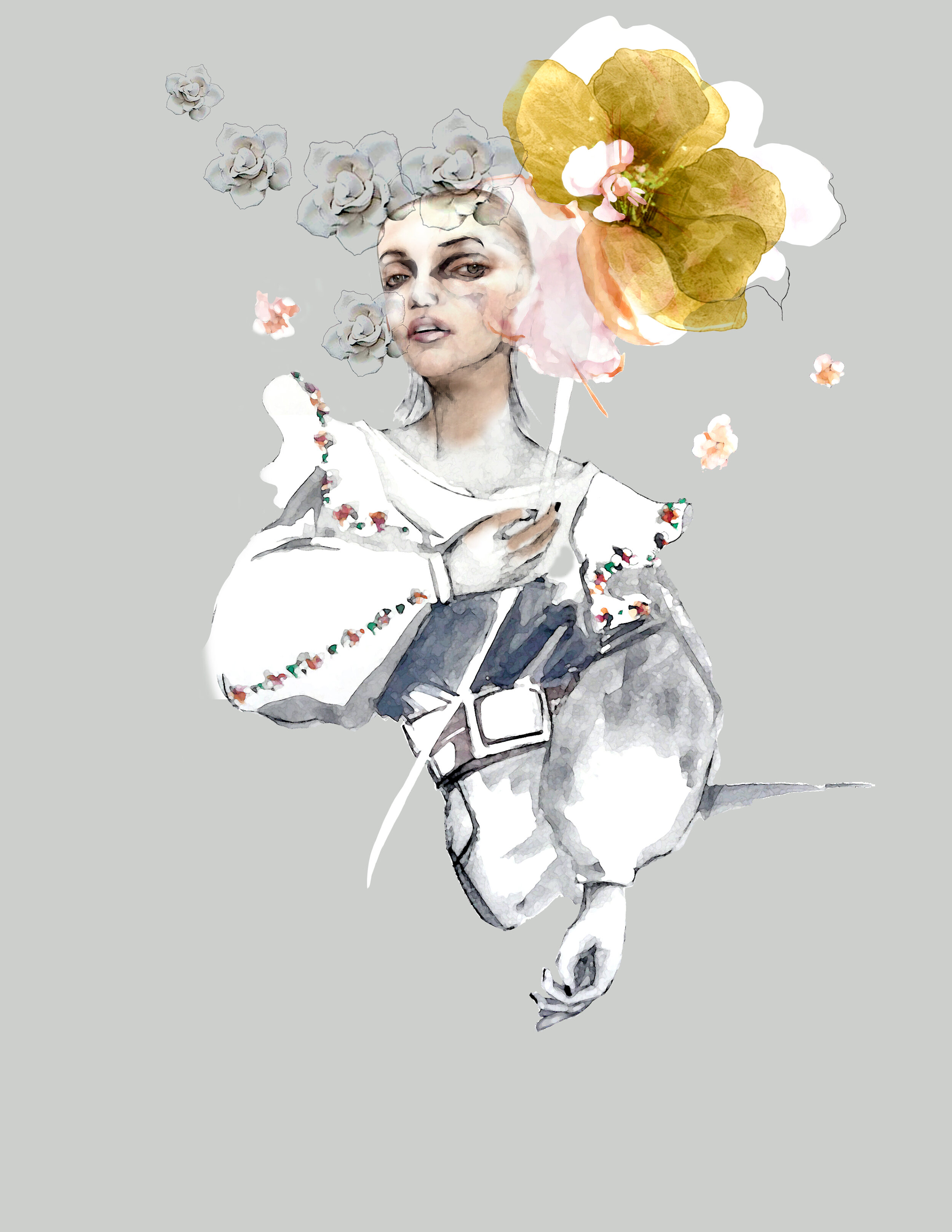 Watercolor fashion Illustration - It is designed so that you can photoshop your own handbag into her hand.