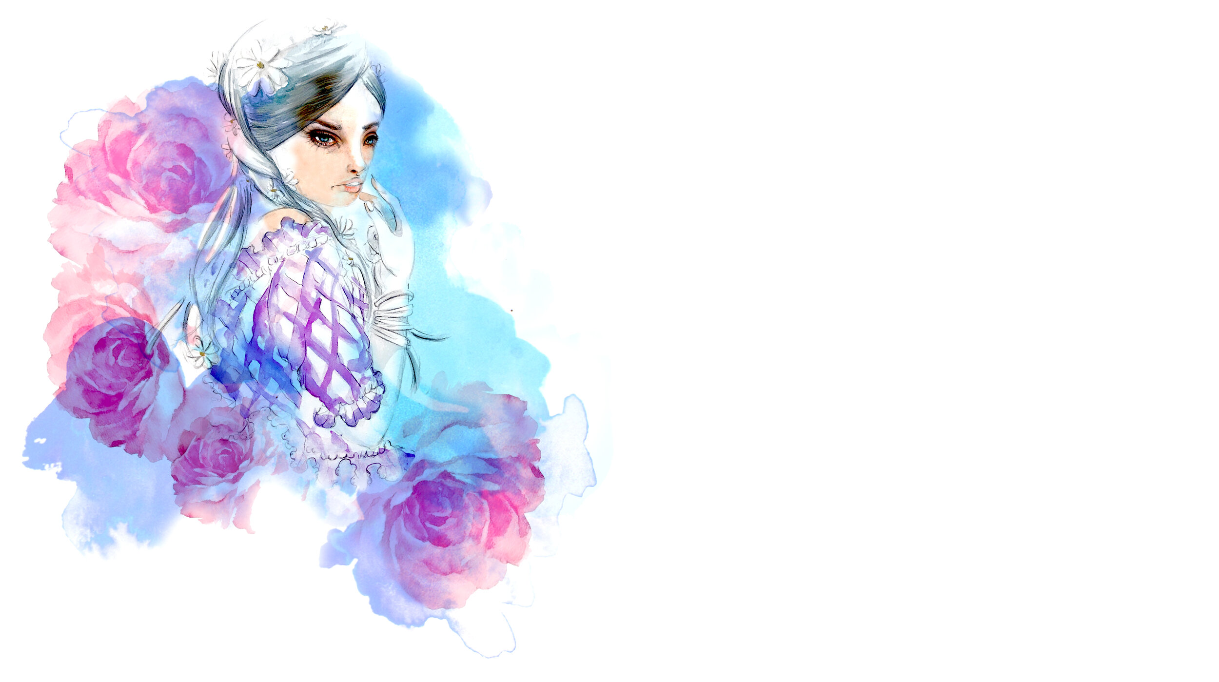 Watercolor Fashion Illustration Banner - Yes, you can put your brand's name in the empty space on the right.