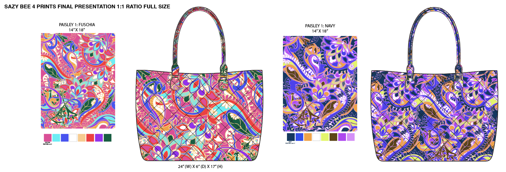 Paisley print on quilted cotton tote for Sazy Bee