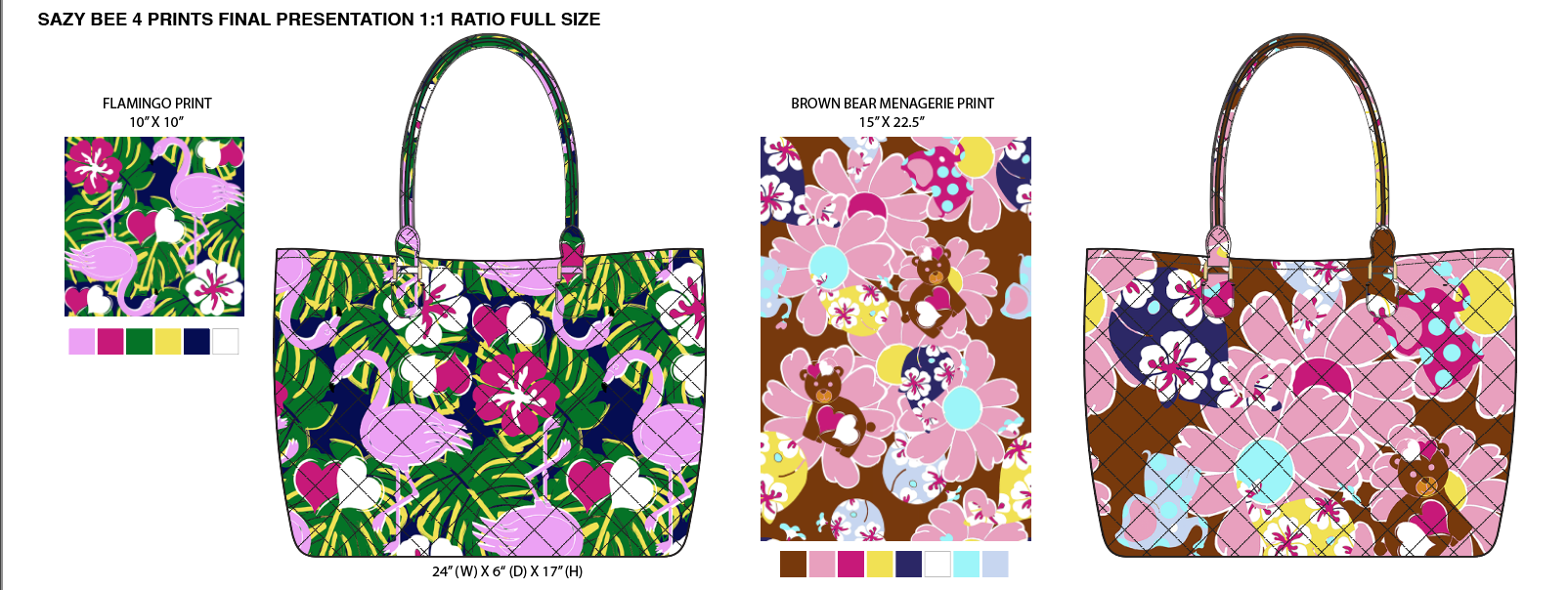 Flamingo & Animal prints on quilted cotton tote for Sazy Bee's Junior Division