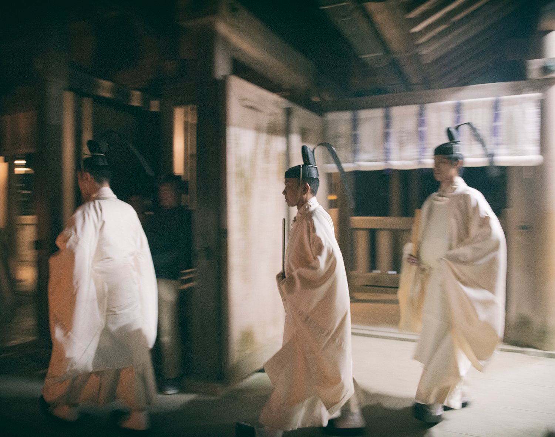 Kannushi (Shinto priest) hold the Yoi-Matsuri ceremony the night before the Aofushigaki Ritual.