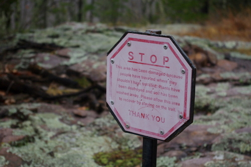 A rather reprimanding sign to stay off the places where you should not be.