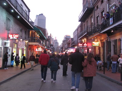 On Bourbon St in New Orleans the pavement is 100% for people.