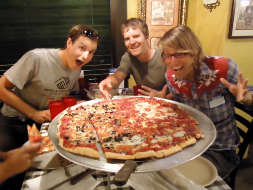 You didn't think we cooked all the time? This is our largest pizza of the trip, 24 inches.