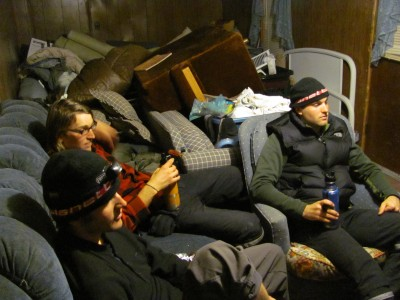 """We watch a movie among a trailer full of """"spare"""" furniture"""