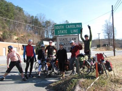 Richard, Scott, and Greg bike us into South Carolina