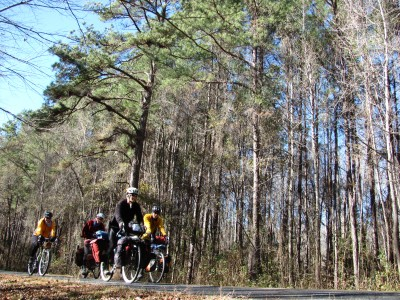 Paige and Chrystal bike us out of Columbia, SC and into the swamps
