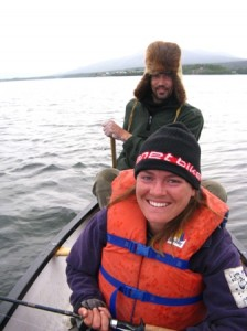 Sara and Jean-Michel fishing in the Teslin River