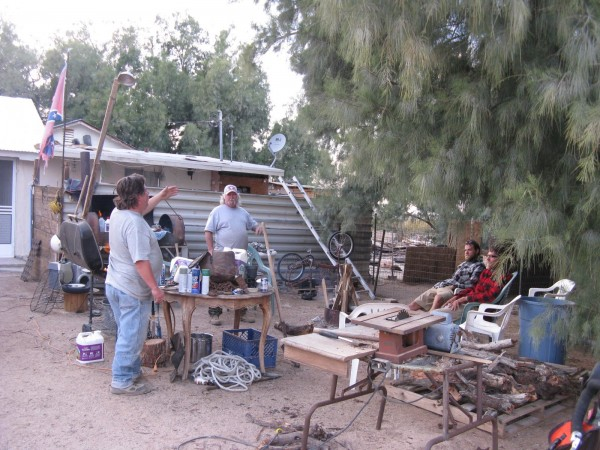 We exchange stories with Henry and Al at their home in Twentynine Palms.