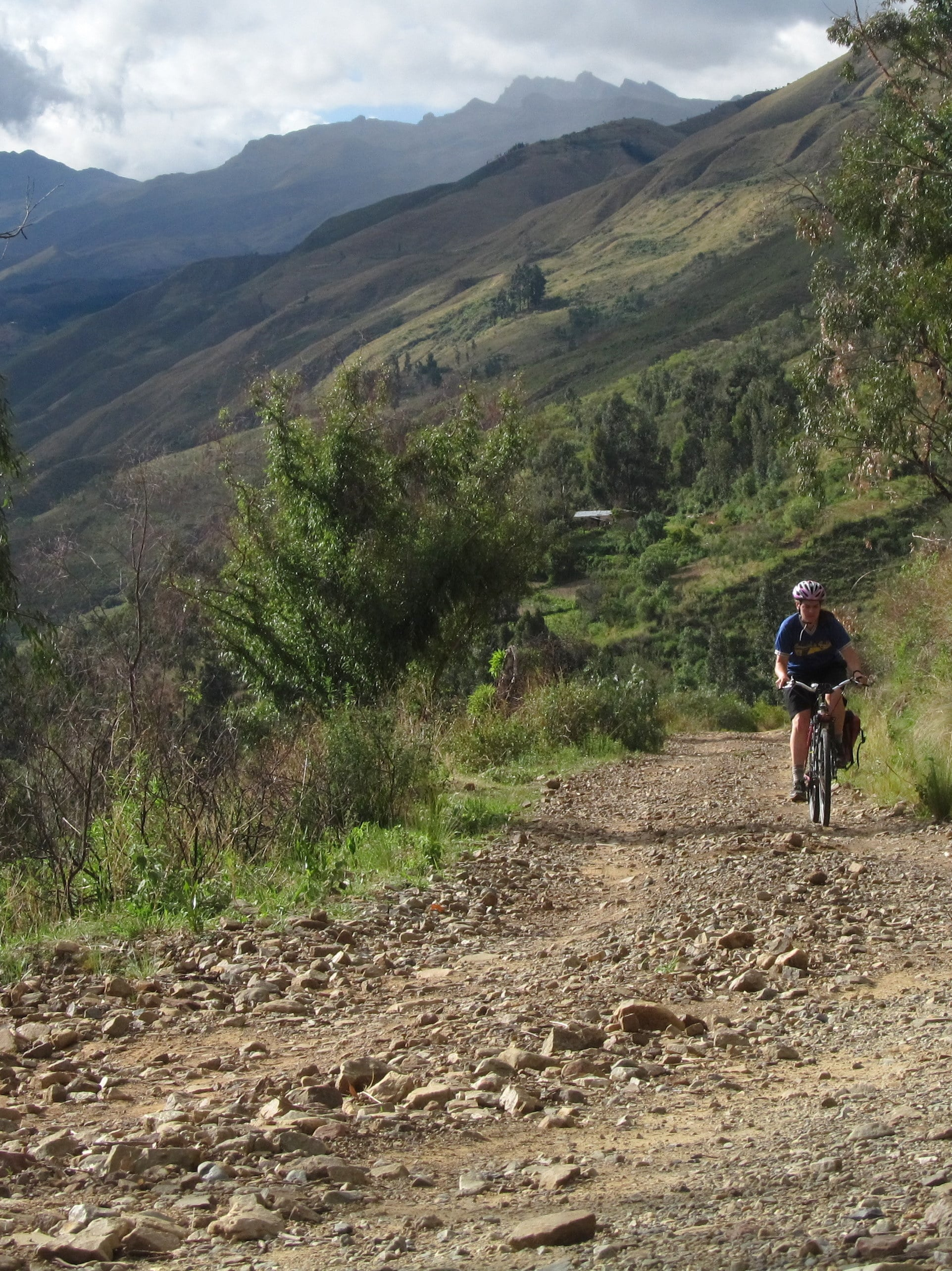 I creep up the dirt road, Tunari Mountain to my back and Cochabamba several thousand feet below.
