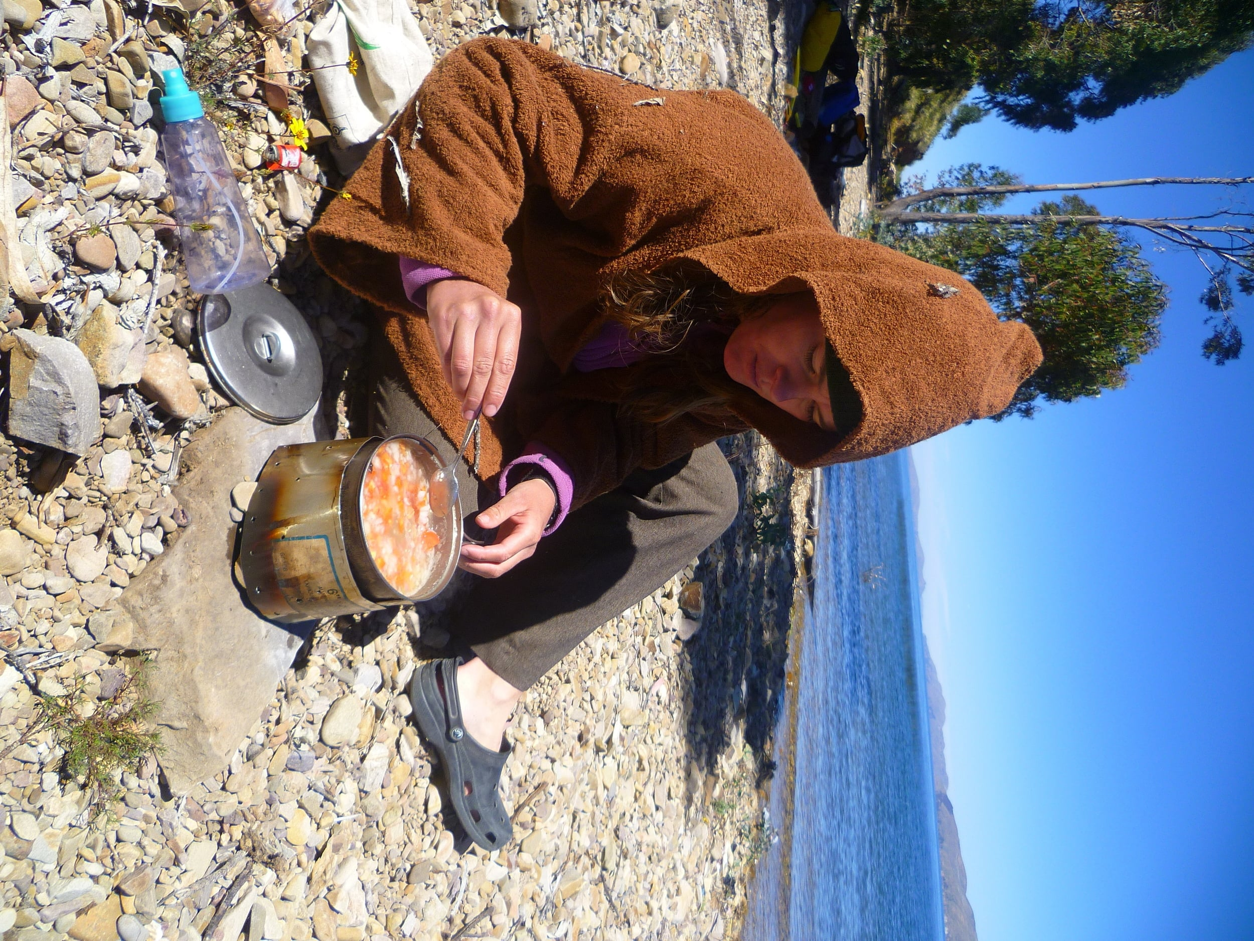 To cope with the cold, we wear 'awesome' Jedi outfits and cook hot lunches on the beach.