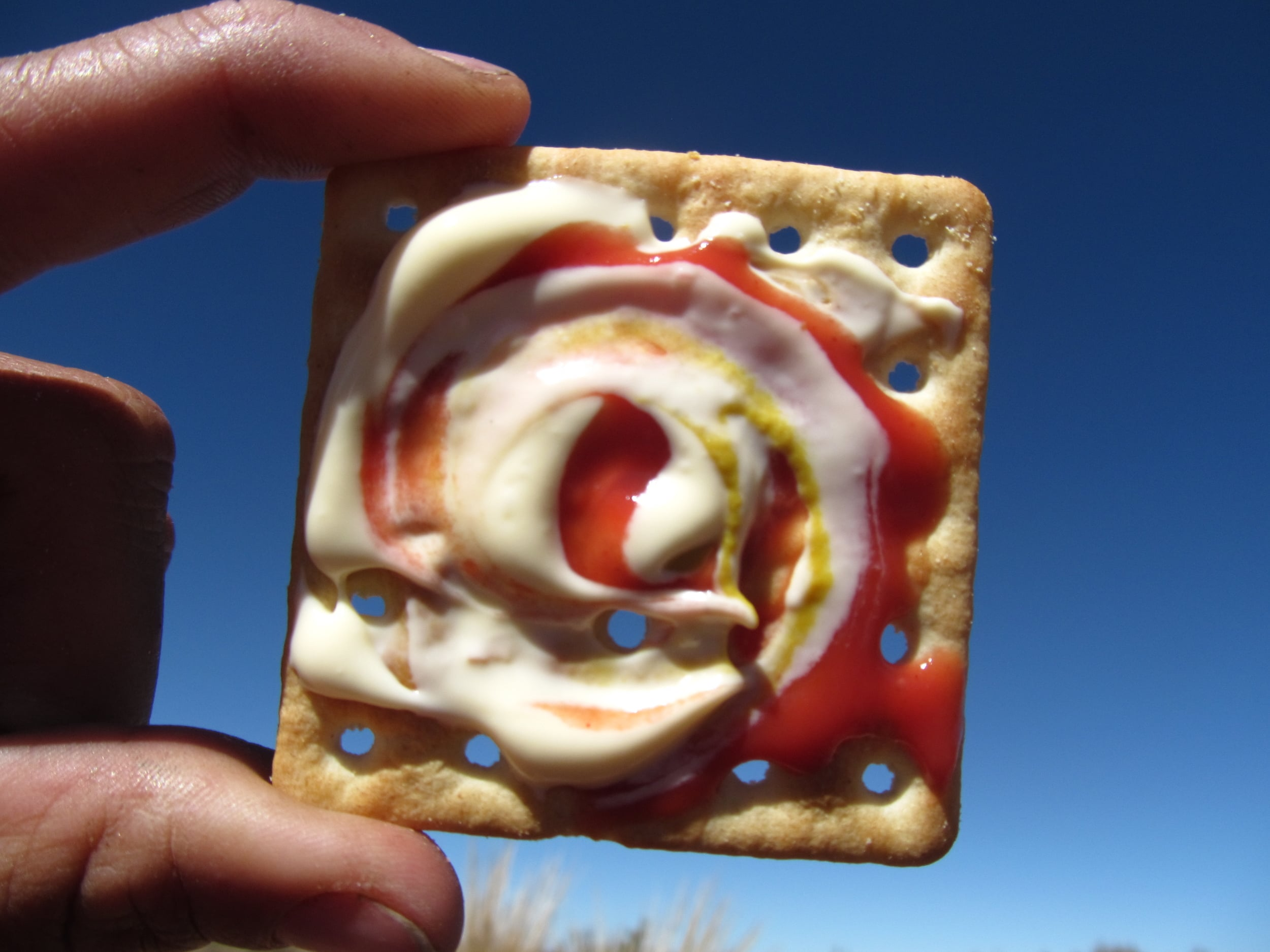 The Trifecta Swirl: a dizzing blend of ketchup, mayo, and mustard.