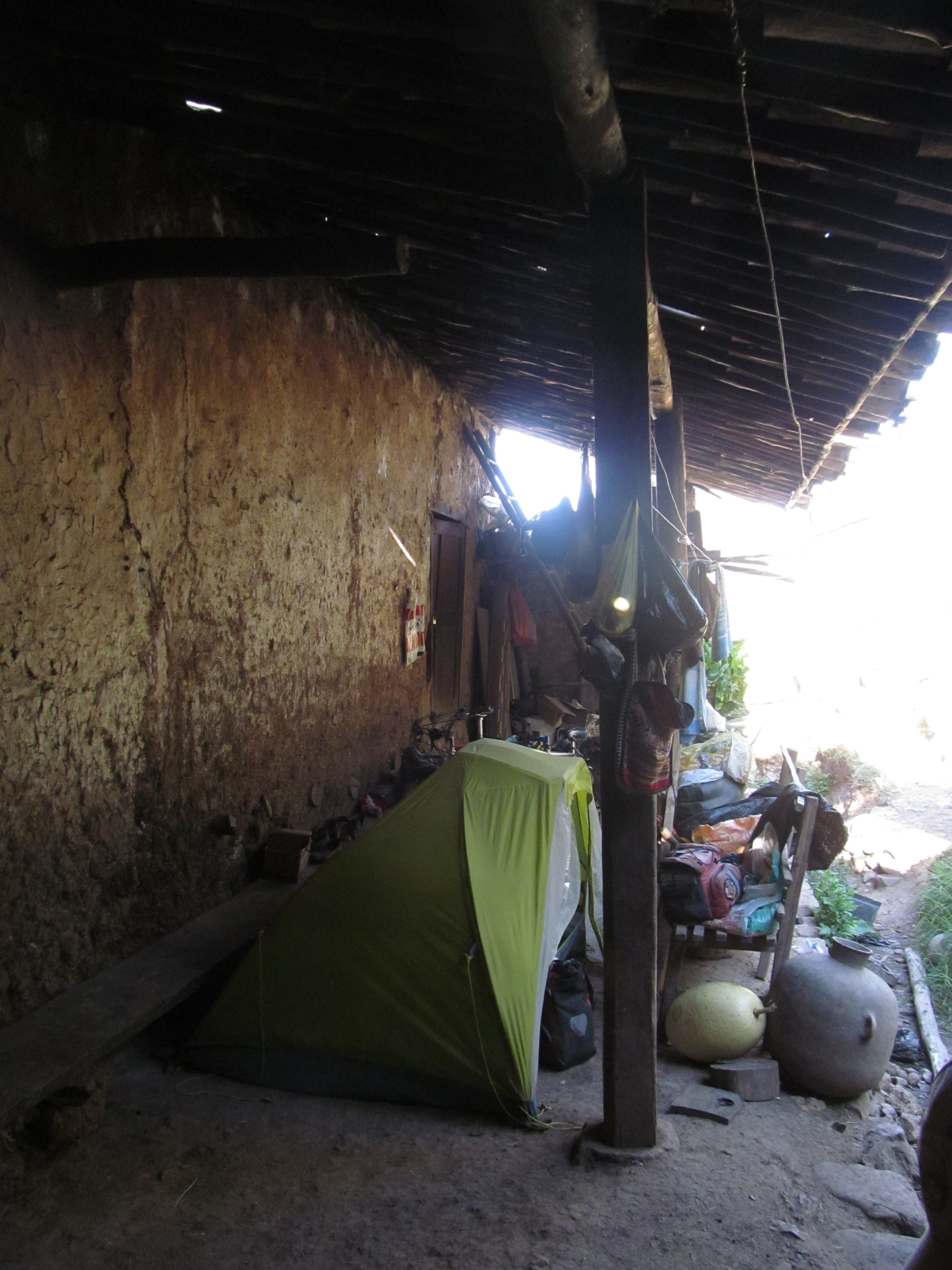 Our tent at the foot of Margarita and Flor's house.