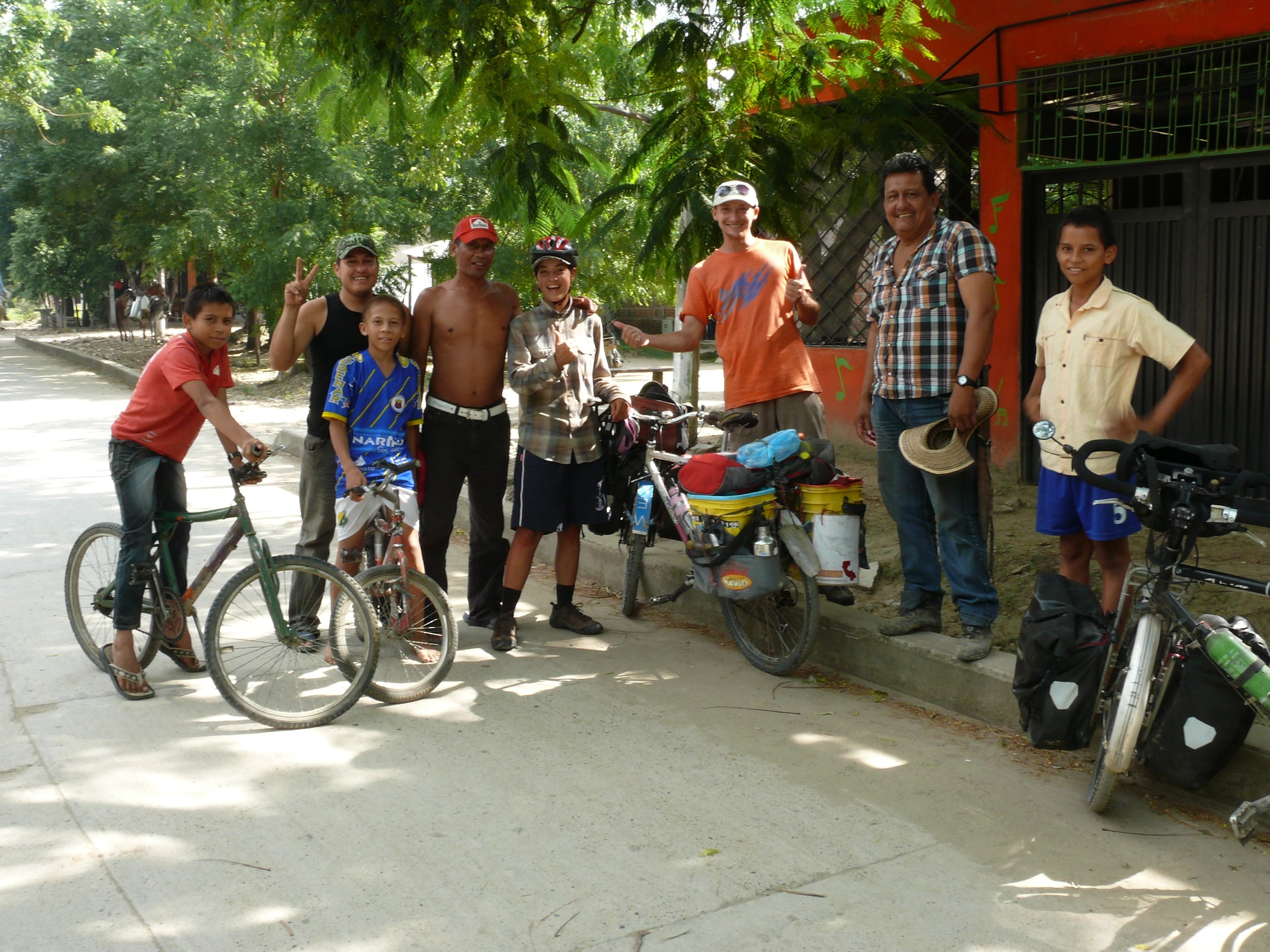 We stop to ask to fill up our water bottles in this small village and end up staying an hour, drinking coffee and talking bikes!