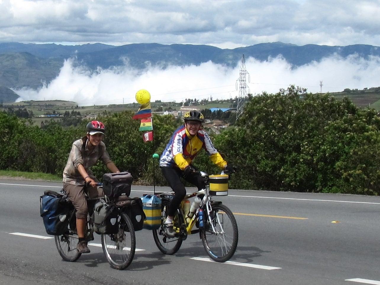 Carlos picks us up on his bike!