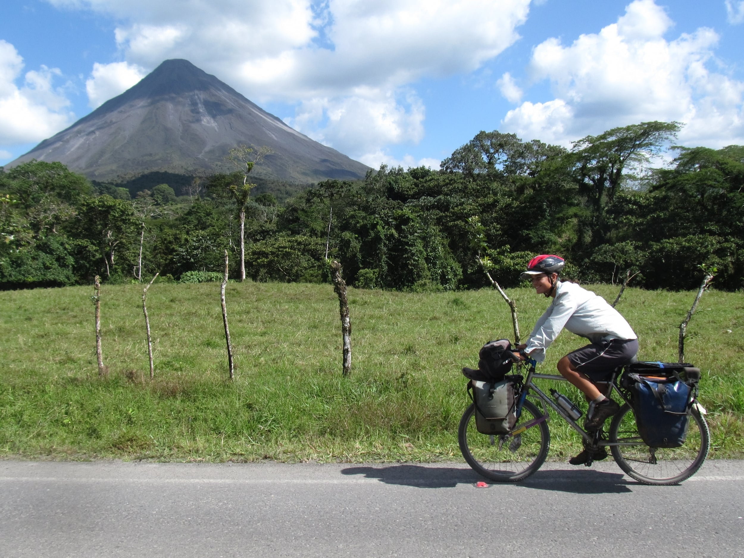 We pedaled towards and then around the impressive volcano Arenal.