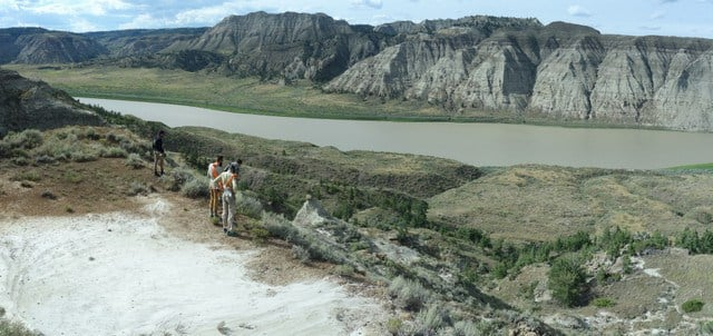 You can see the layers of sedimentary rocks that the Missouri River has eroded.