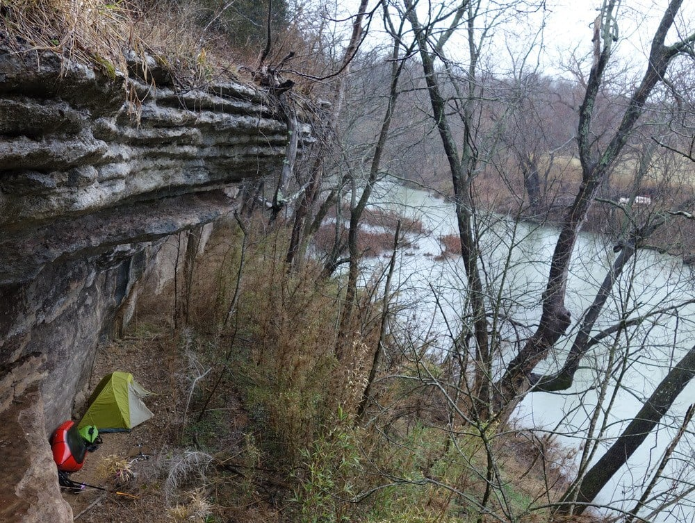The perfect campsite: no cars, no trash, and a great shelter in the rain.
