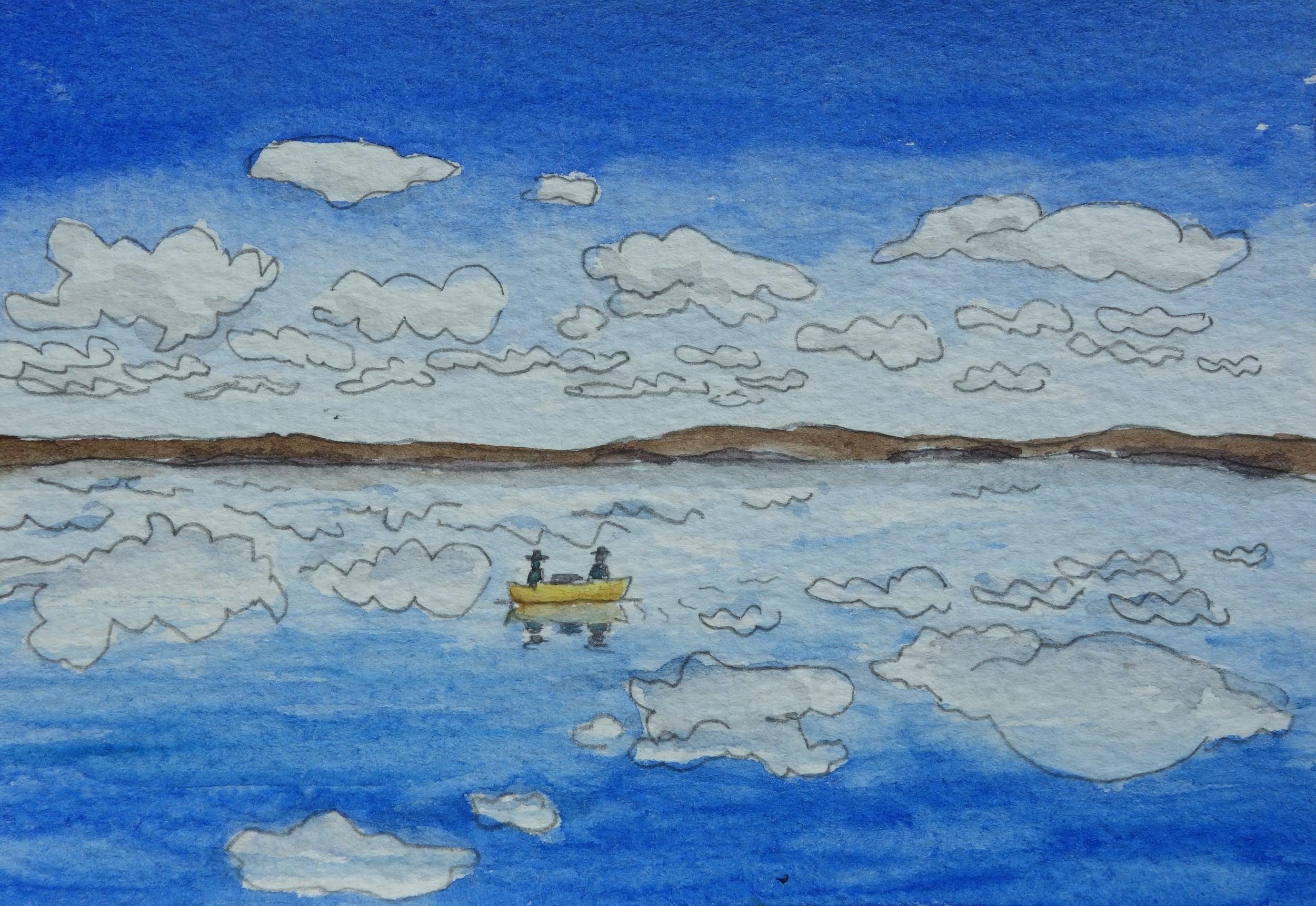 watercolor clouds on lake.JPG