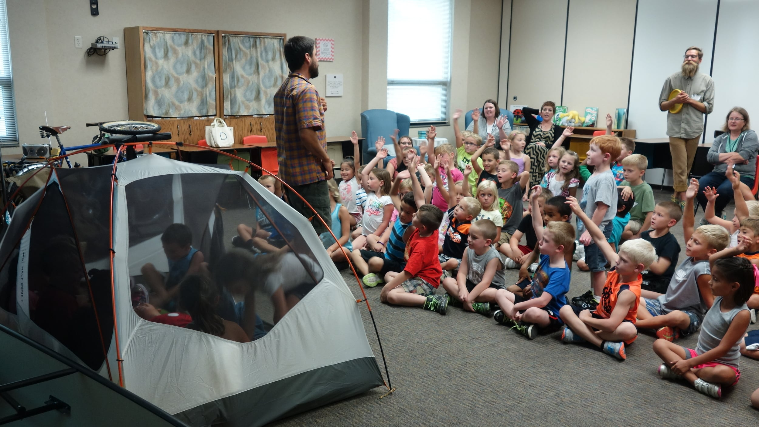 We strive to keep kids engaged during our entire presentation. A contest to see how many kindergartners can fit in our tent does just that.