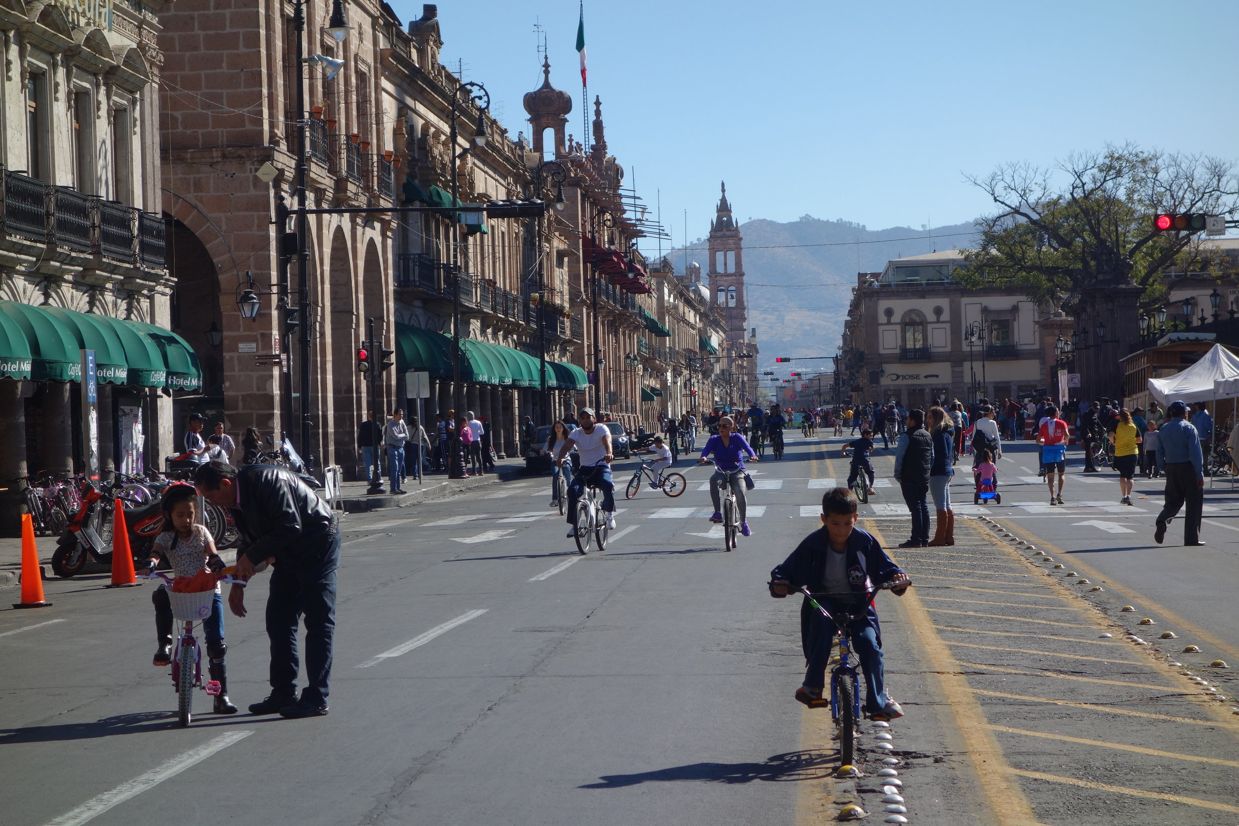 Most of the time I battle traffic, but in Morelia each Sunday the main street is given back to people.