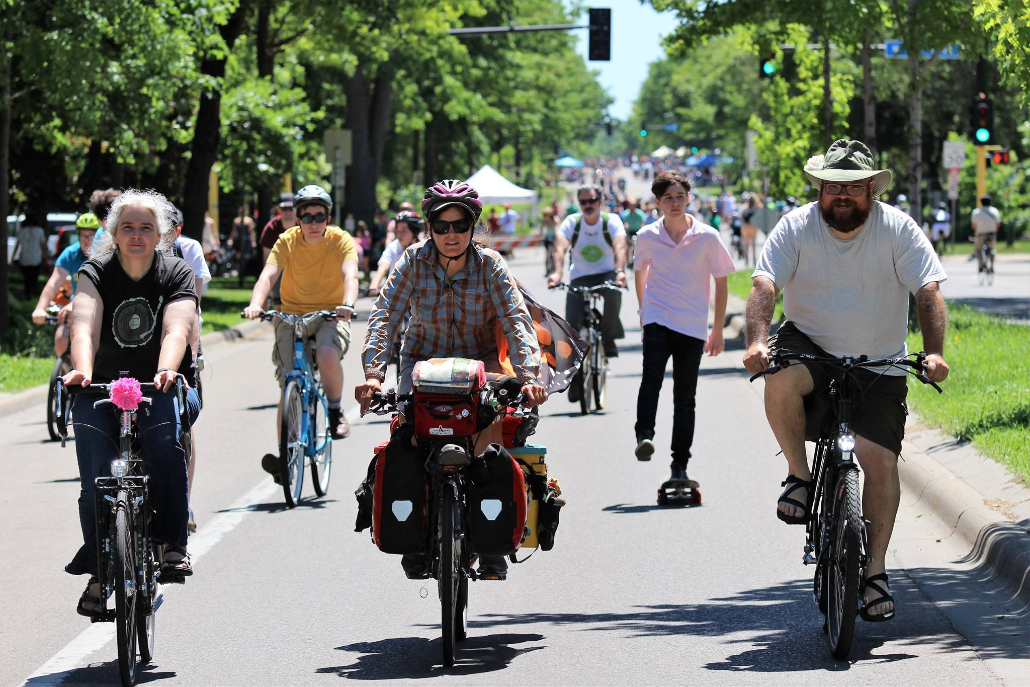 Sue, Chris, and I enjoy Open Streets, a day in Minneapolis where people and culture and community are not scared away by cars.