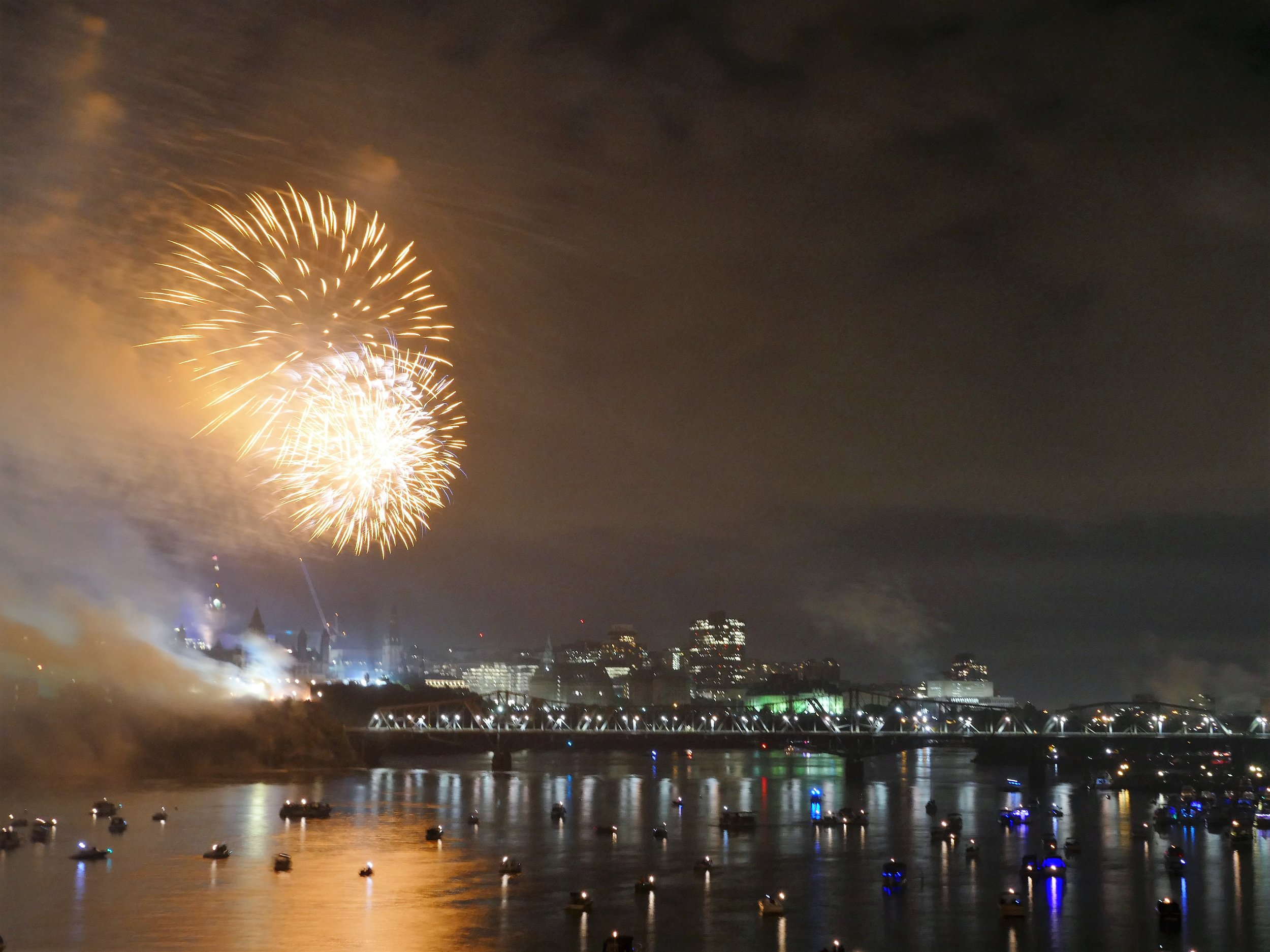 The fireworks lit up the river and were pretty impressive. Happy Canada Day.