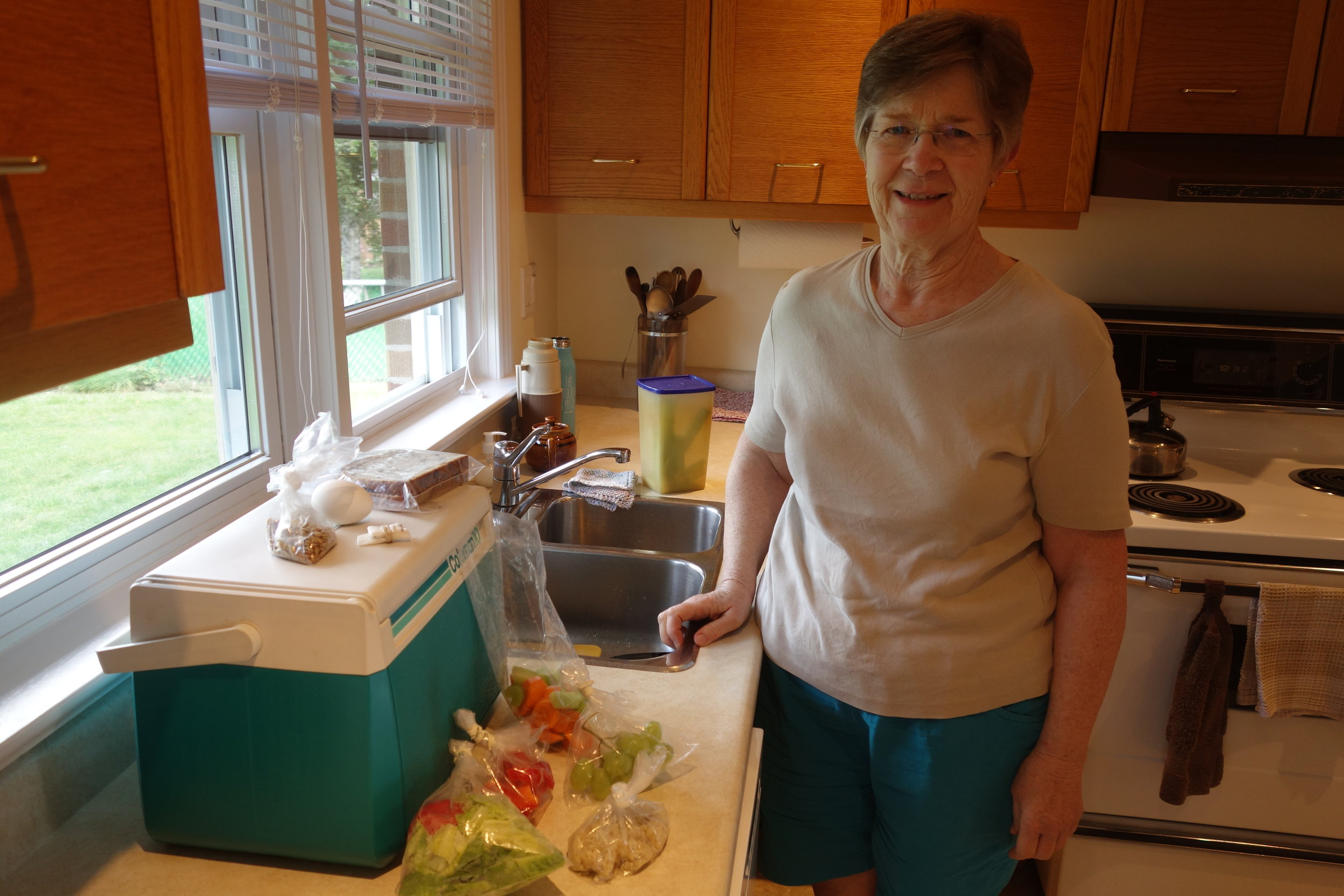 Barb used her camping skills, recycled bags, and frozen food to pack me several meals for the road.