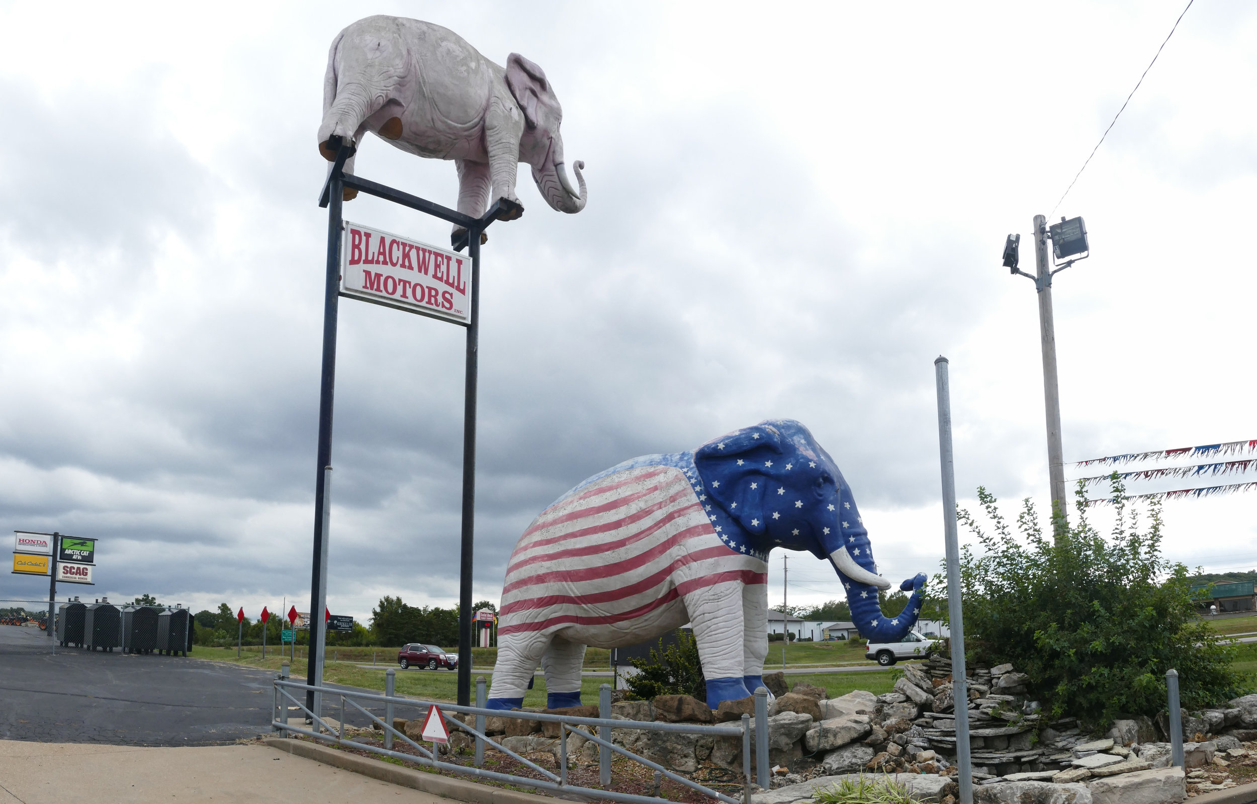 I was happy to visit Missouri's not-yet famous Blackwell Motors Elephants.