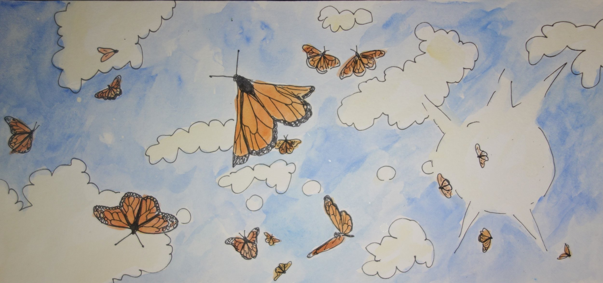 D. It never got old watching a sky made of orange and blue, while the sound of thousands of monarch wings sang with the wind.