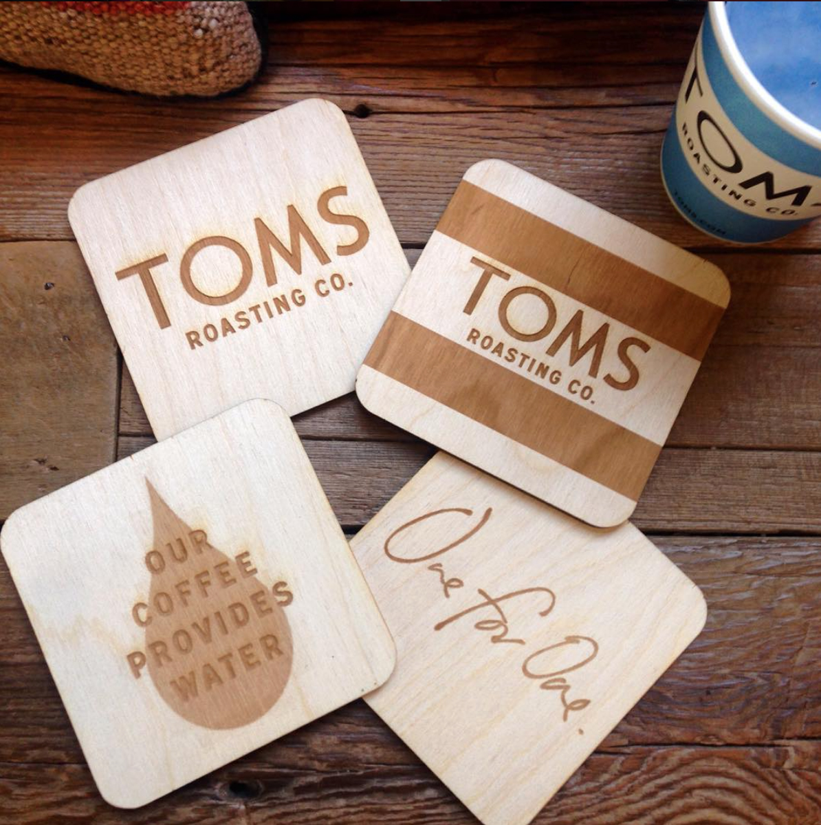 """Thank you for the incredible wood cut coasters!"""