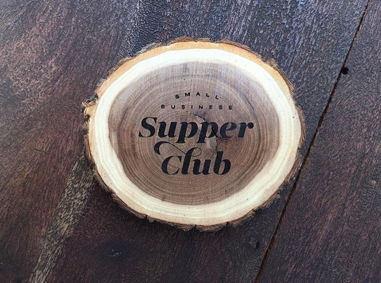 Laser engraved wooden coaster log slice branch