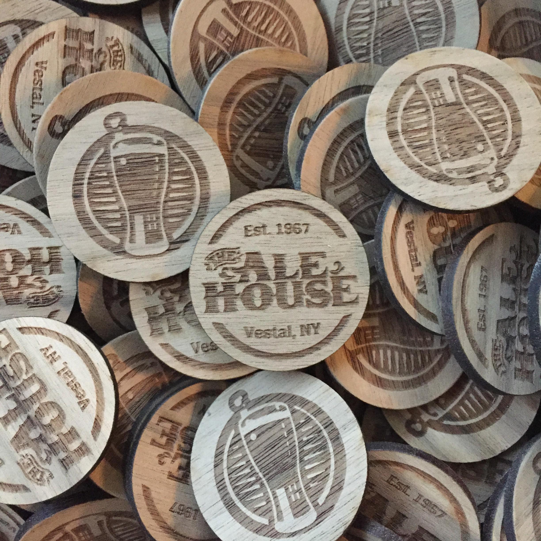 Wooden Nickel laser engraved token