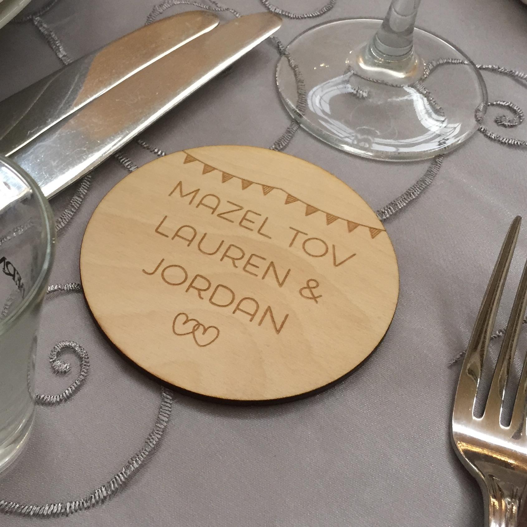 Laser engraved wooden coaster wedding