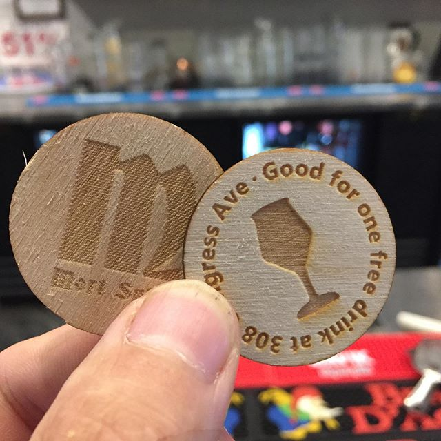 The only customers we like more than repeat customers are customers who give out free drinks. Glad @MortSubiteAustin is both. -  #WoodenNickels  #laserengraved #laserengraving #barpromo #smallbiz #smallbizmarketing #beveragepromo #beveragepromotion #pubpromo