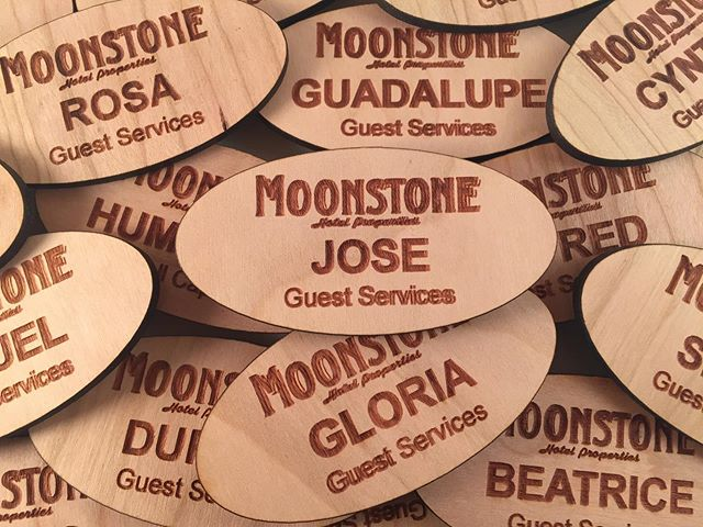 Wood name tags with laser cut custom shape for a hotel resort. They requested pin backs for the kitchen staff instead of magnets, so we made it happen. #LasersMakeItAwesome  #nametag #nametags #eventplanner #eventplanners  #eventplanning  #IDbadge #conferencebadge #conferencebadges
