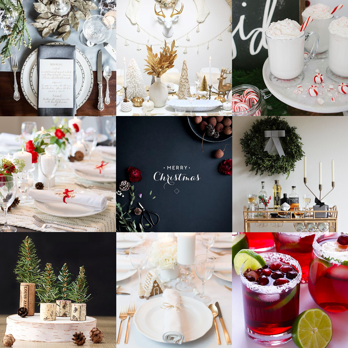 HOW TO THROW A HOLIDAY PARTY LIKE OUR FAVORITE BLOGGERS  FROM LEFT TO RIGHT:  KATE SPADE NEW YORKTABLESCAPE BY SACRAMENTO STREET  //  WHITE + GOLD HOLIDAY PARTY //  KID FRIENDLY PEPPERMINT DRINKS //  RED + WHITE HOLIDAY TABLESCAPE  //  MERRY CHRISTMAS PRINT  //  HOLIDAY BAR CART DIY BOW  //  DIY CHRISTMAS CORK TREES  //  WHITE CHRISTMAS TABLESCAPE  //  CRANBERRY MARGARITAS