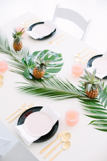 Palm Fronds + Pineapples Table Decor for your next Luau