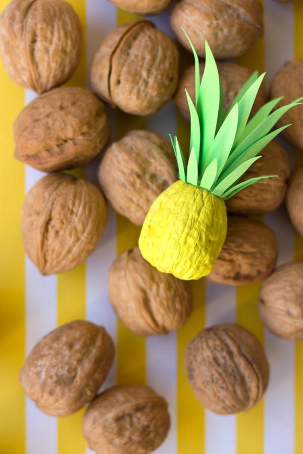 DIY Walnut Pineapple Party Decorations