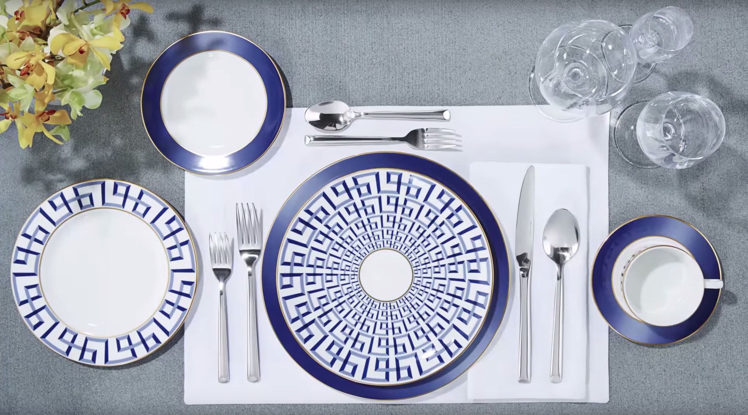 Brian Gluckstein Darius Gold China Collection available at Table + Dine