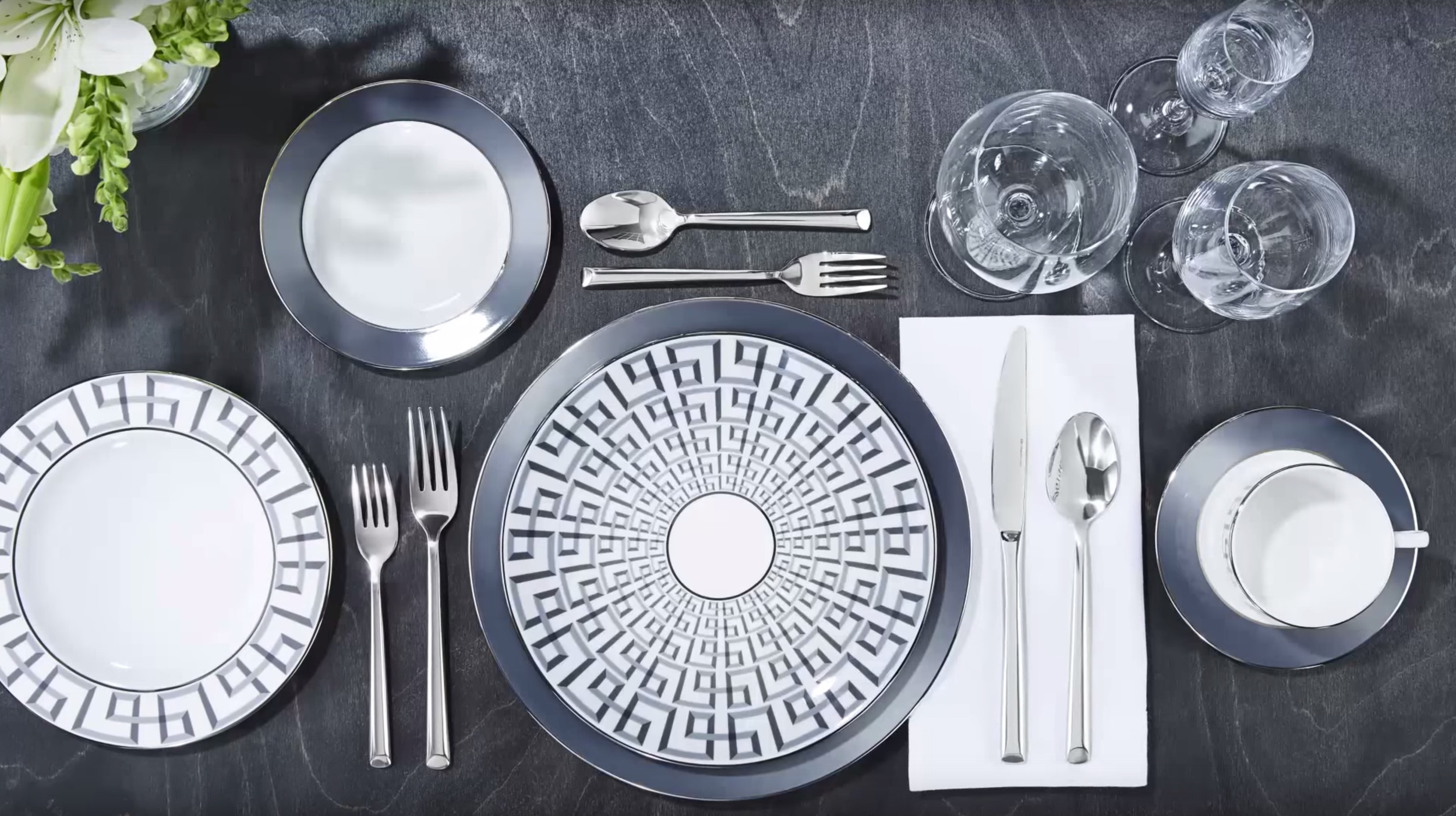 Brian Gluckstein Darius Silver Collection available at Table + Dine