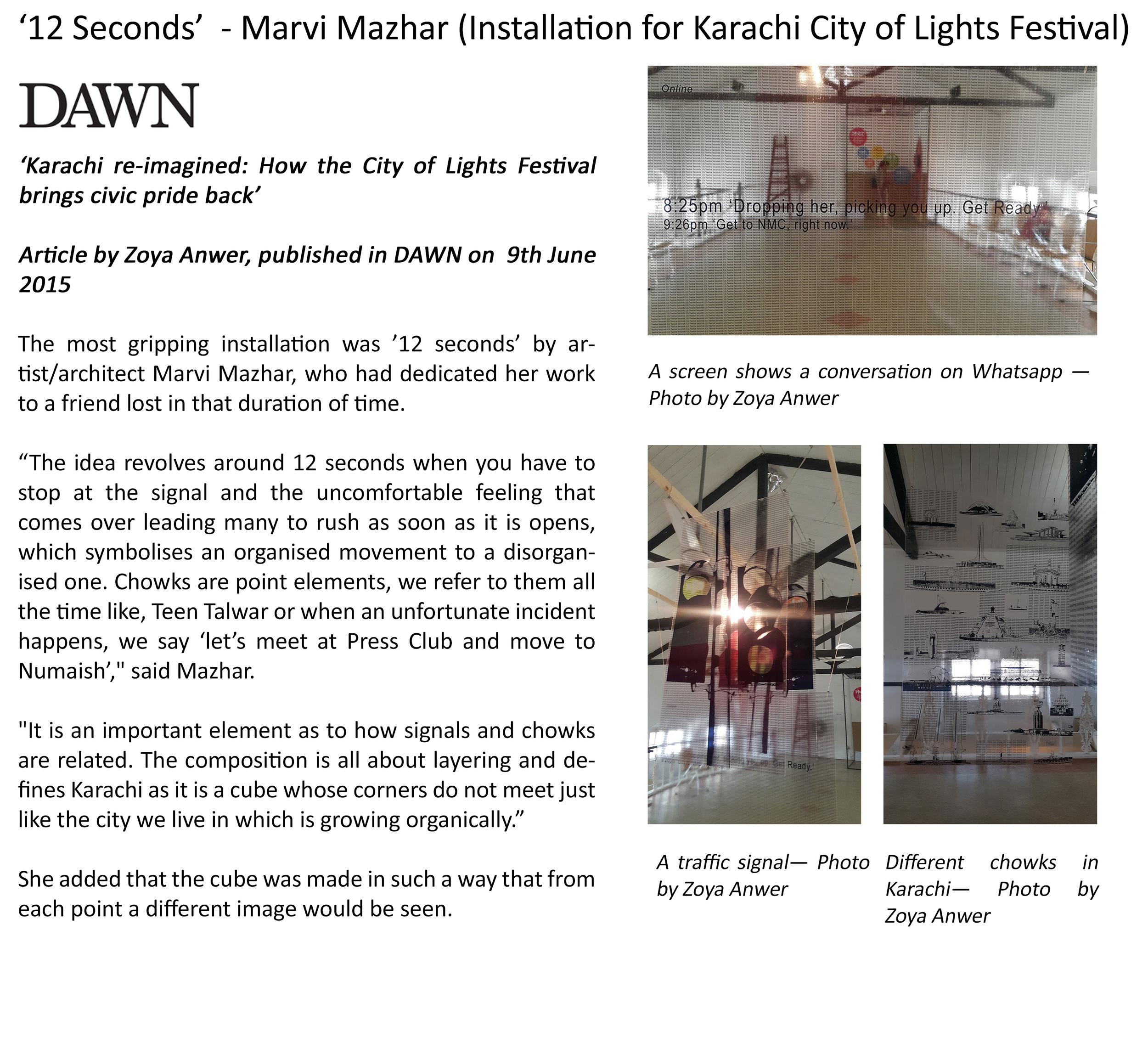 Karachi Re-Imagined: How the city of Lights Festival brings civic pride back.| 9th June 2015, Karachi.
