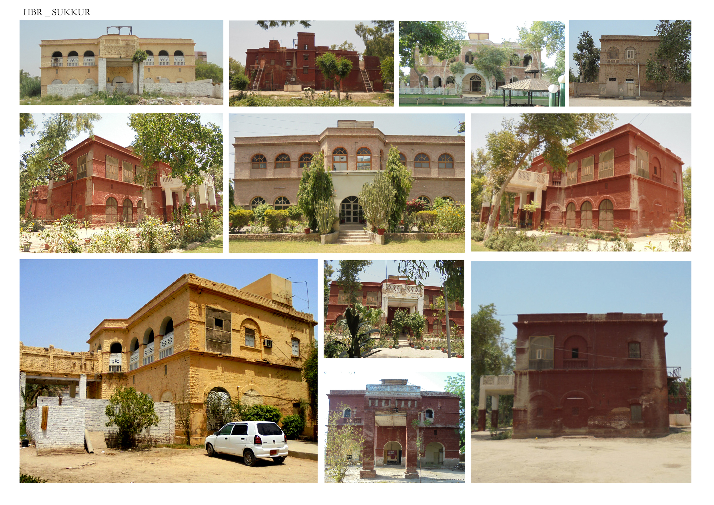 The Sukkur Irrigation Colony is laid out on a grid plan which consisted of 52 bungalows and promenade out of which only 17 are left standing. The occupants of the bungalows are either government or privately owned. These 600-1000 square foot bungalows typology consists of semi-open corridors, porch, arched windows and arched corridors.